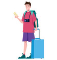 traveler on white vector image