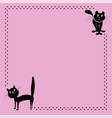 two black cartoon cat and paw prints border frame vector image