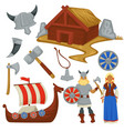 viking history and culture weapon and ship man and vector image