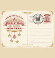 vintage christmas typography postcard vector image vector image
