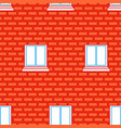 windows and brick wall seamless texture red vector image
