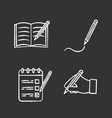 writing with pencil chalk icons set vector image vector image