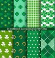 set of abstract shamrock seamless patterns for st vector image