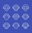 apes line icons set vector image vector image