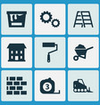 architecture icons set with color can wheelbarrow vector image vector image