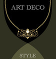 art deco jewel vintage gold necklace in victorian vector image vector image