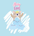 baby shower cute bear clouds heart love decoration vector image vector image