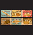 bakery shop and pastry vintage plates bread buns vector image vector image