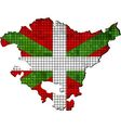 Basque map with flag inside vector image vector image
