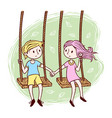 boy and girl playing on swing vector image