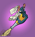 bride and groom wedding african american couple vector image