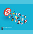 business integrated 3d web icons growth and vector image vector image