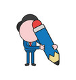 businessman character holding pencil color and vector image vector image