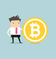 businessman with a bitcoin vector image vector image