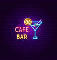 cafe bar neon label vector image vector image