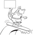 Cartoon dinosaur surfing and holding a sign vector image vector image