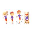children doing sport activities vector image vector image