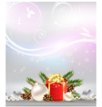 Christmas background with decoration gift vector image vector image