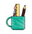 color crayon stripe cartoon pencil holder with vector image