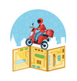 courier man of logistic service in motorcycle vector image vector image