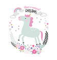 cute magical unicorn vector image vector image