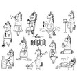 cute set of 11 hand-drawn unicorns vector image vector image
