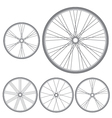 different bicycle wheels on a white background vector image vector image