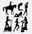female sport activity silhouette vector image vector image