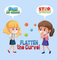 girls with flatten curve sign vector image vector image