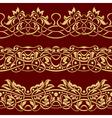 Gold floral seamless border design element