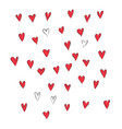 hand drawn a lot of red hearts vector image vector image