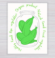 hand drawn poster with jar full of zucchini with vector image vector image