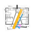 house plan and tool for drawing vector image vector image