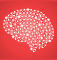 human brain isolated on a red background vector image