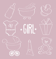 Linear baby girl items set vector image