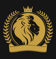 lion head with crown logo vector image vector image