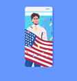 man holding usa flag 4th july american vector image vector image