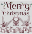 merry christmas slogan hand drawn xmas background vector image