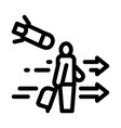 migratory man tourist icon outline vector image vector image
