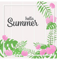 pink hibiscus flowers summer frame square banner vector image