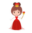queen with crown and scepter in red dress on white vector image vector image