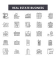 real estate business line icons signs set vector image