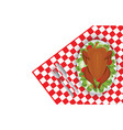 roasted turkey bird on oval plate with fork and vector image