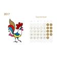 Rooster calendar 2017 for your design September vector image vector image