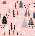 seamless winter pattern with fox tree and ink vector image