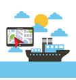 tablet with navigation ship boat ocean landscape vector image