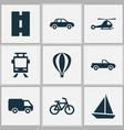 transportation icons set collection of bicycle vector image