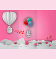 valentines day concept with balloon and heart vector image