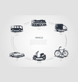 vehicle - train car shuttle truck bike vector image vector image