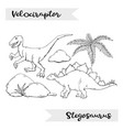 velociraptor and stegosaurus isolated on a vector image vector image